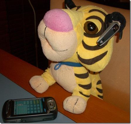 Schnubbs using his bluetooth headset