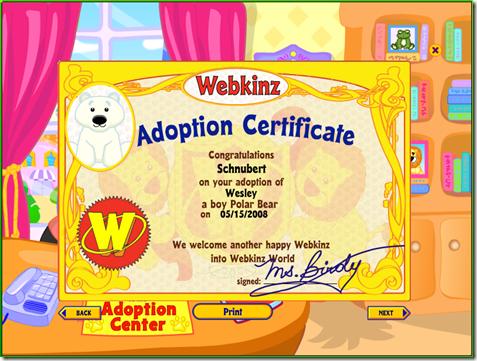 Wesley adoption certificate